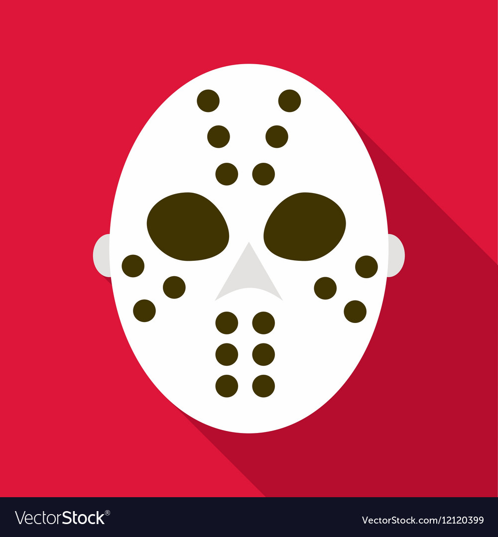 Hockey Goalie Mask Icon Flat Style Royalty Free Vector Image