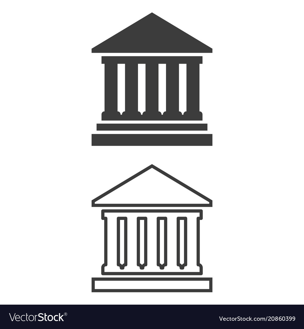 Icon of bank on white background