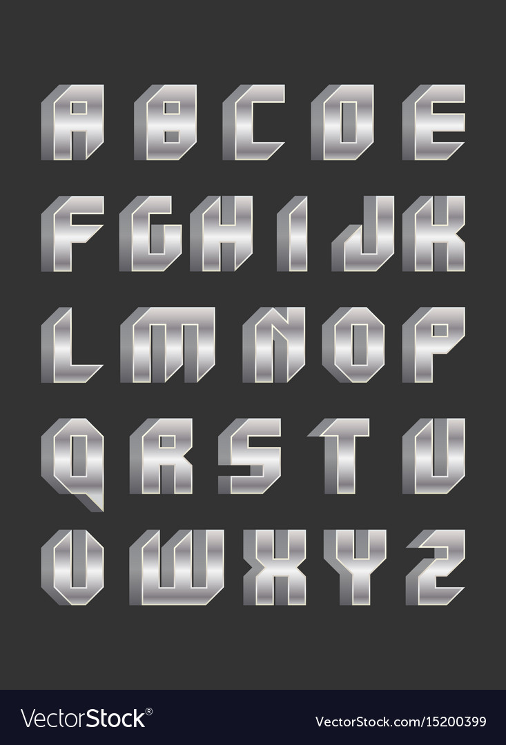 Robotic Font In Flat Style Royalty Free Vector Image