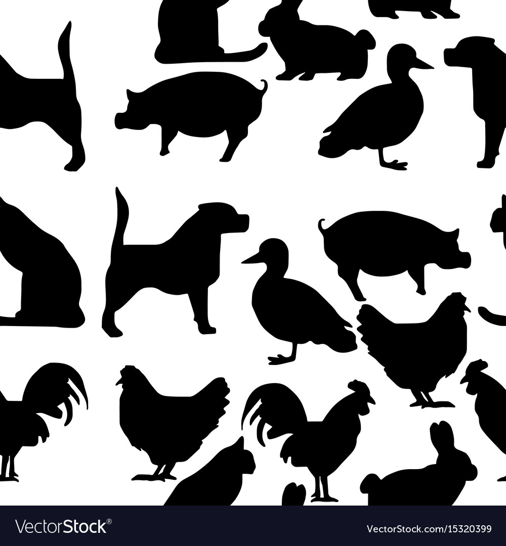 Seamless pattern pets silhouette vector image