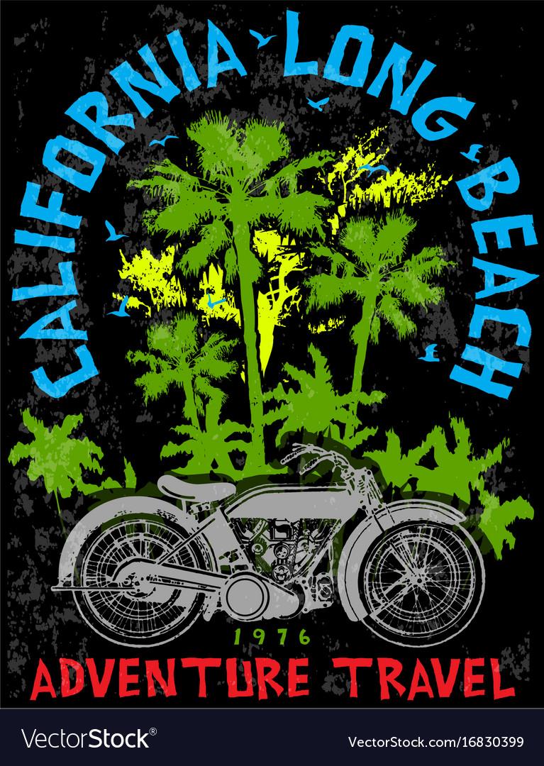 Vintage motorcycle hand drawn tee graphic design