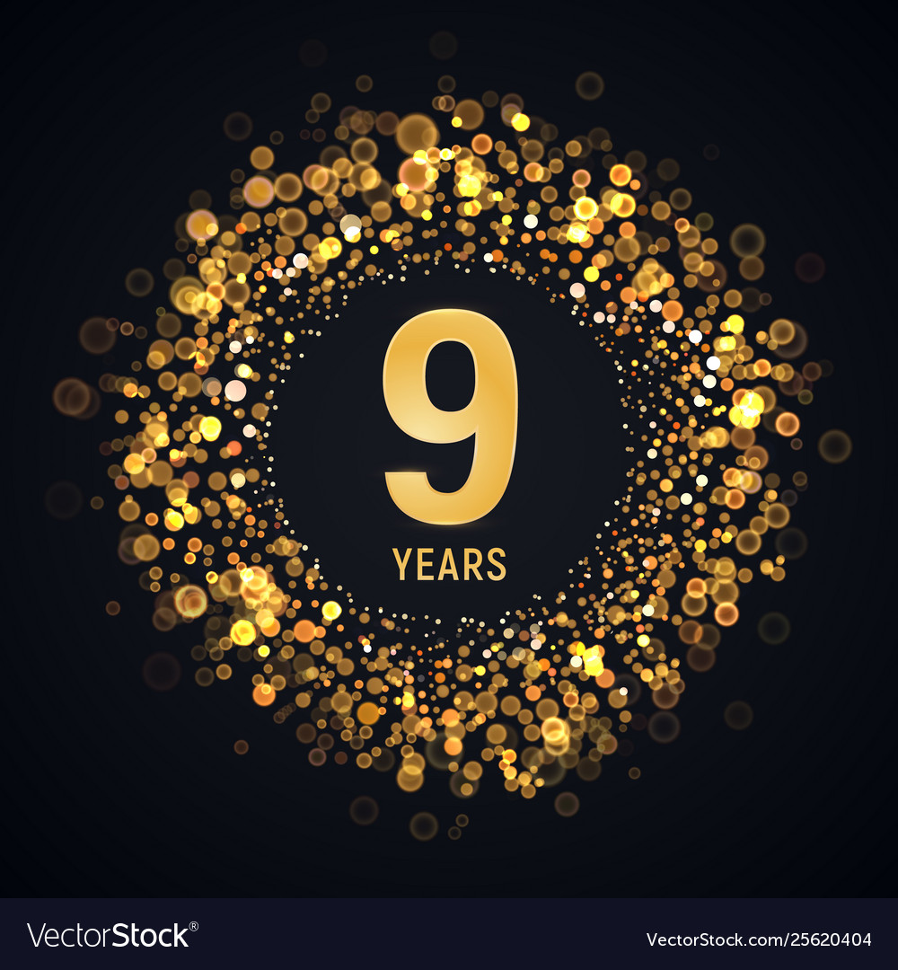 9 th years anniversary isolated design Royalty Free Vector