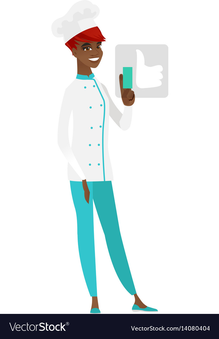 African-american chef cook pressing like button vector image