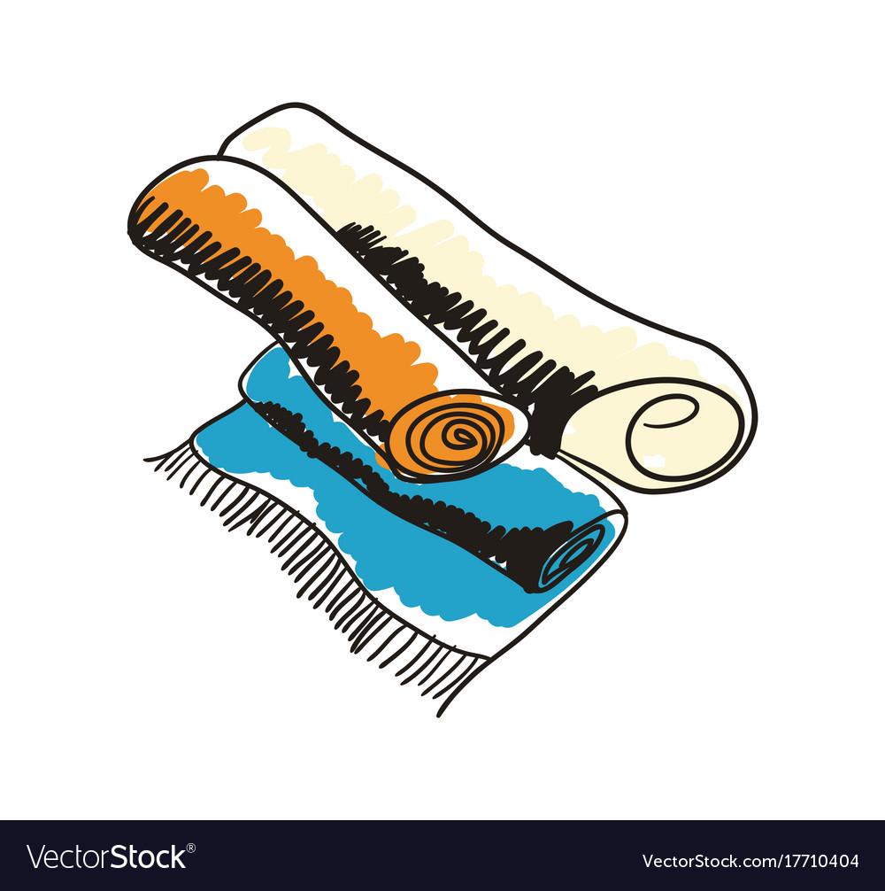 Arabian handmade carpet hand drawn icon vector image