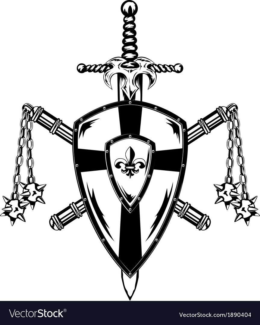Board sword and maces vector image