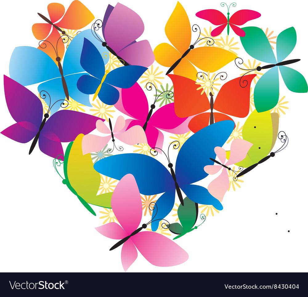 Butterflies colorful heart
