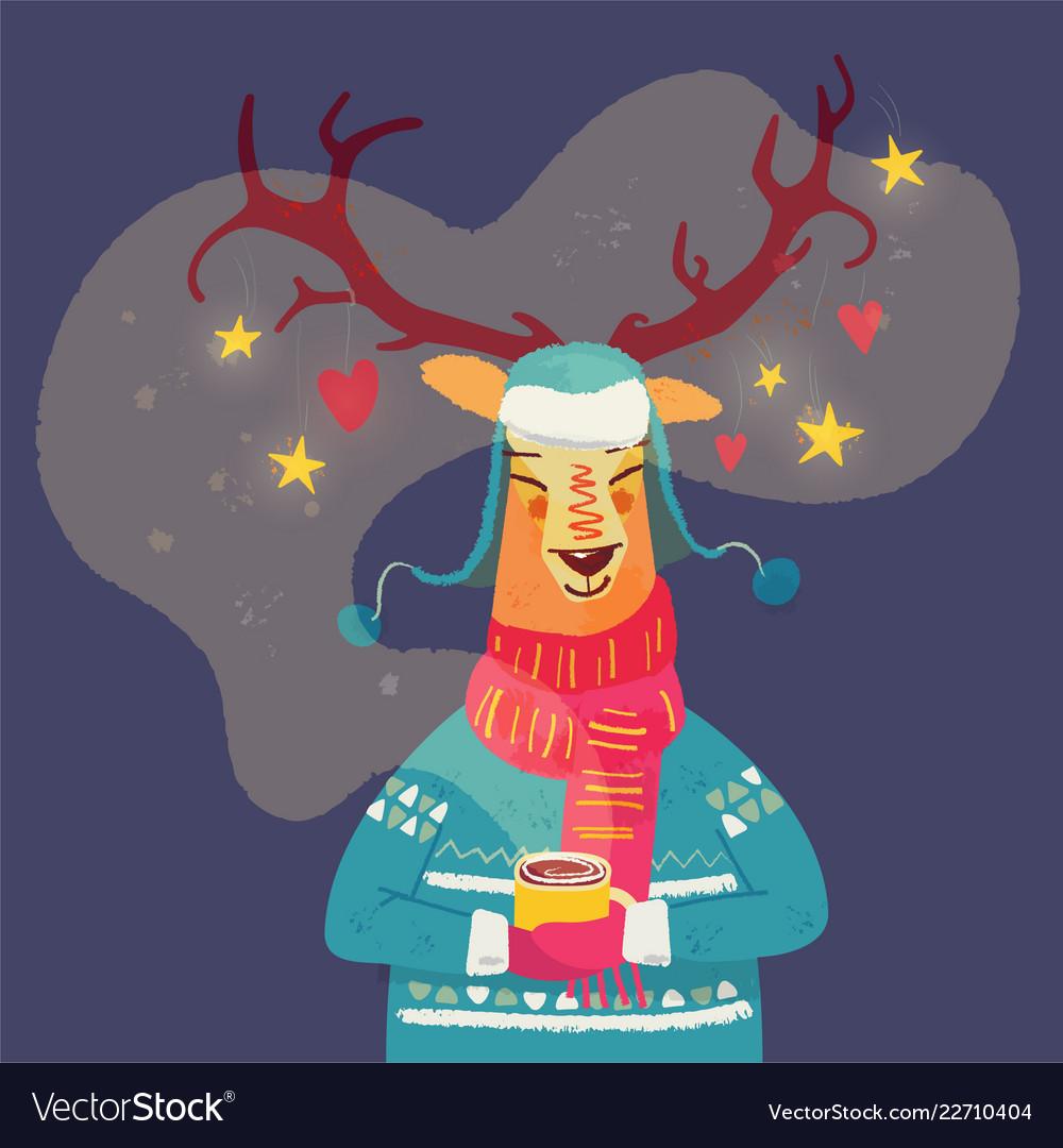 Cute reindeer with coffee mug christmas greeting