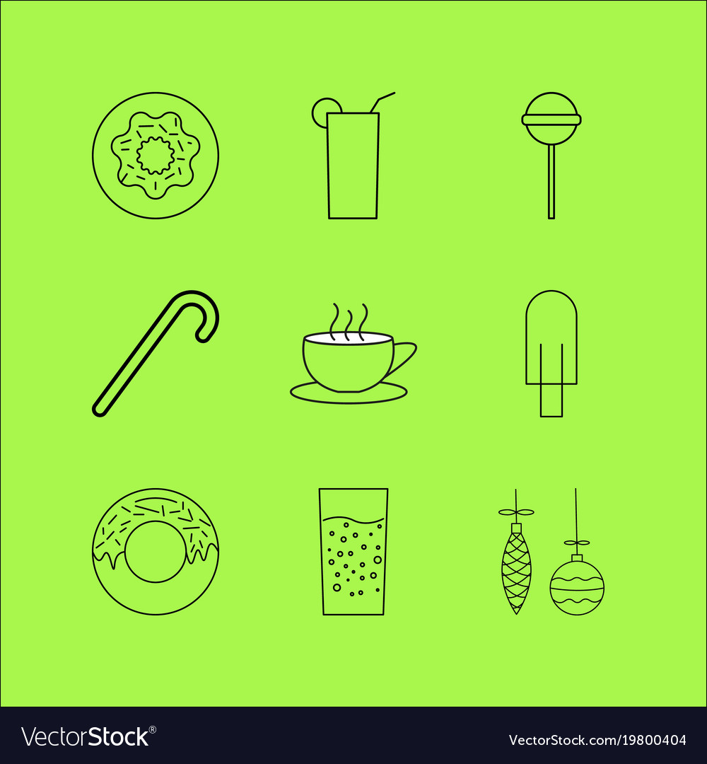 Food and drink linear icon set simple outline