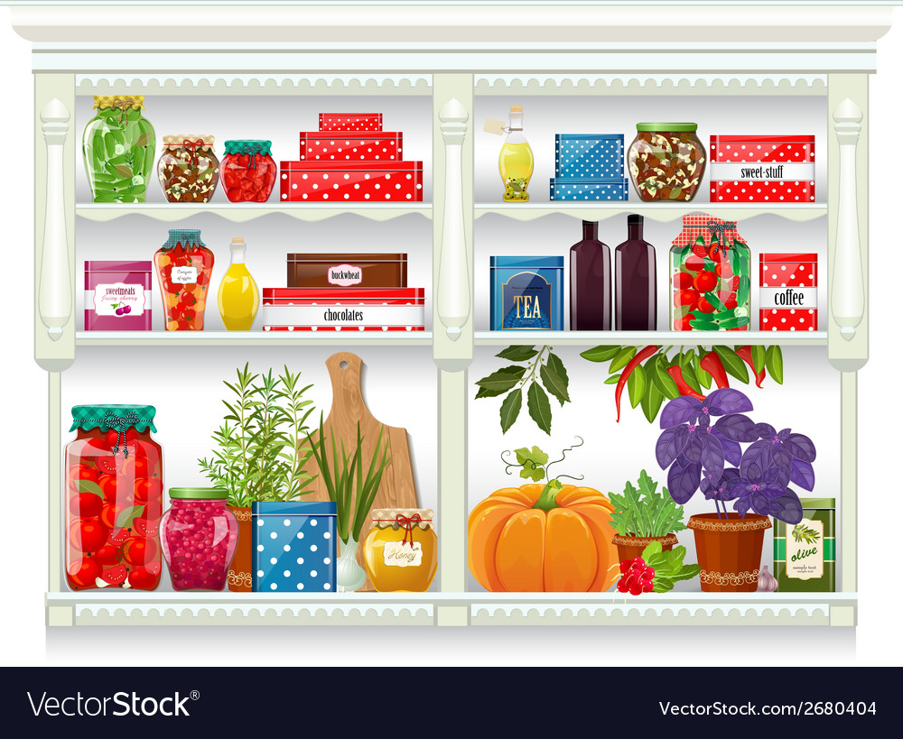 Fresh produce and glass bottles with preserved vector image