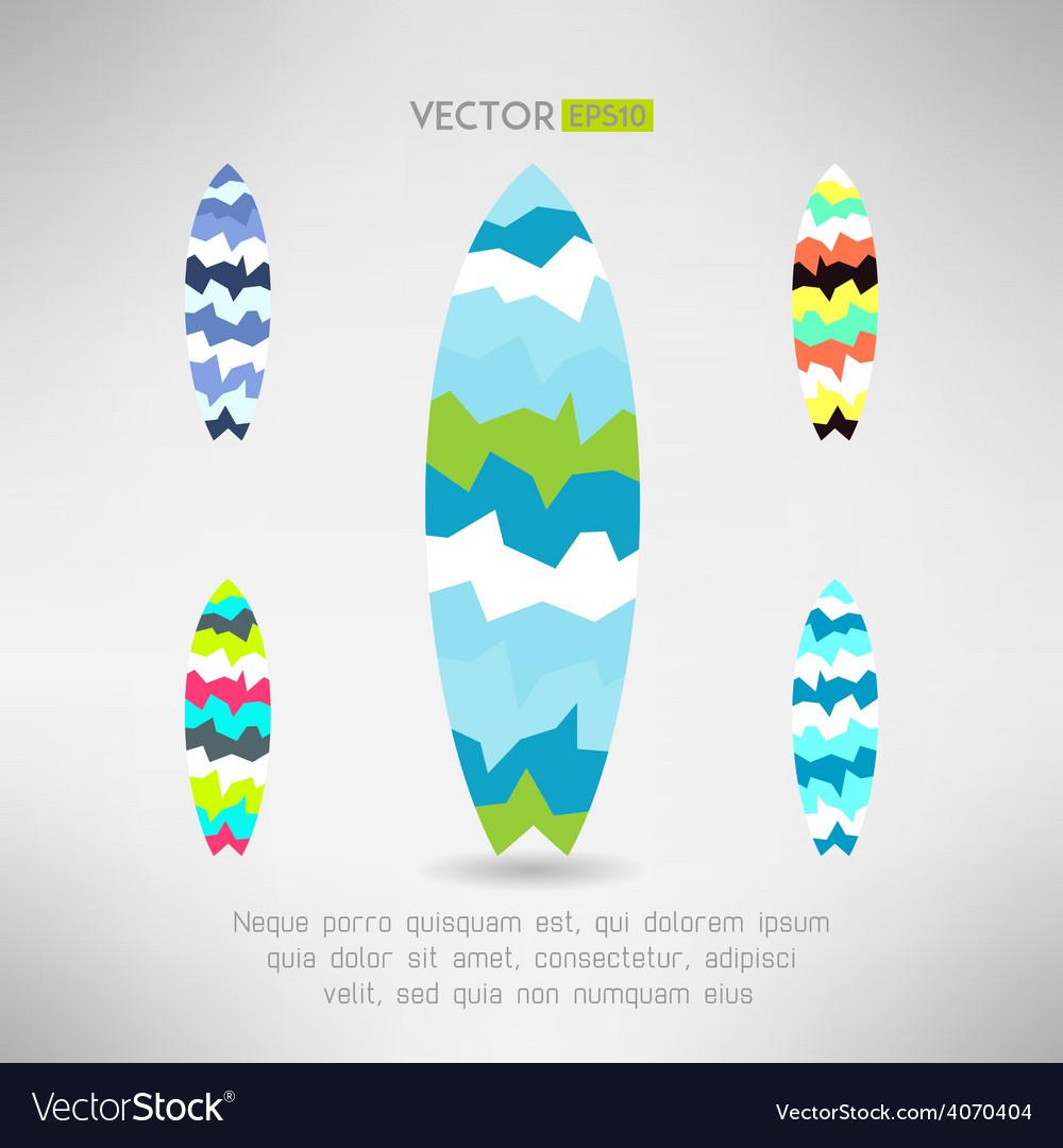 Geometrical Surfboard Designs Set Surfing Board Vector Image