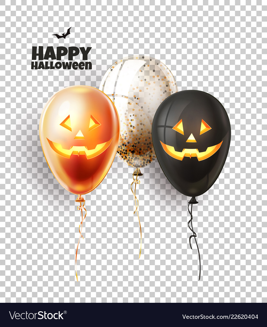 Halloween balloon with scary spooky faces