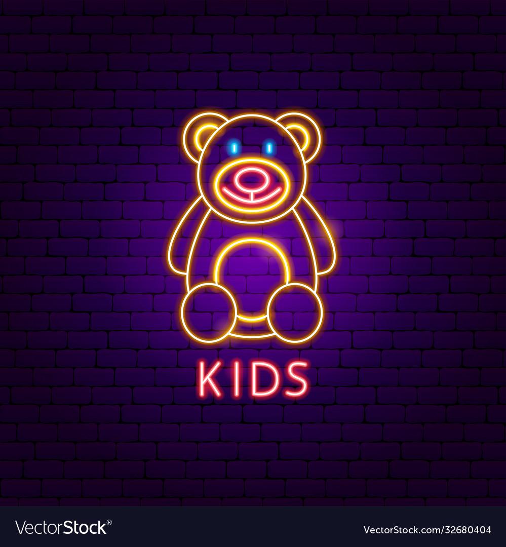 Kids neon label