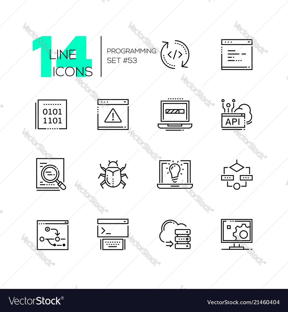 Programming - modern thin line design icons set