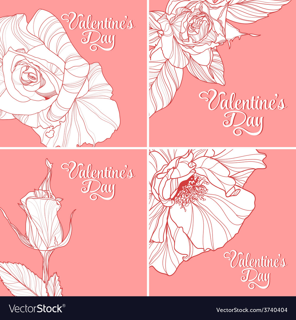 Set Of Valentines Day Greeting Cards Royalty Free Vector
