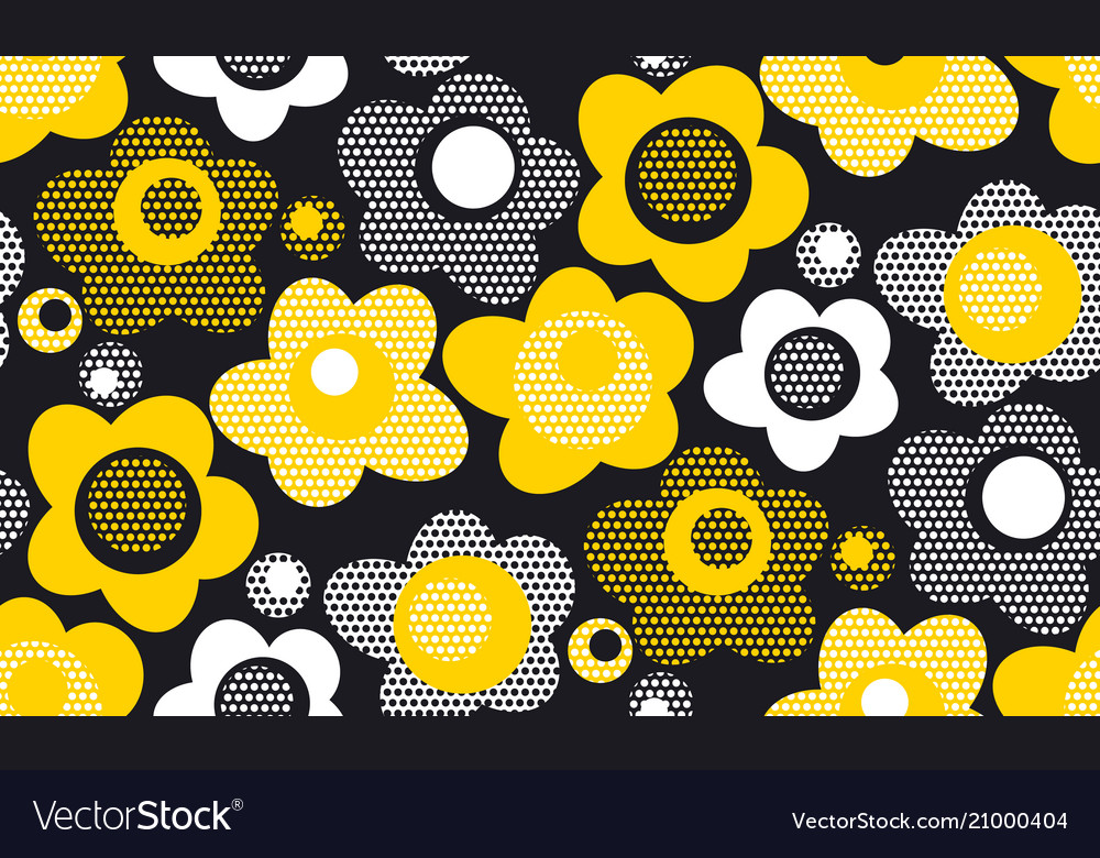 Summer yellow color floral seamless pattern