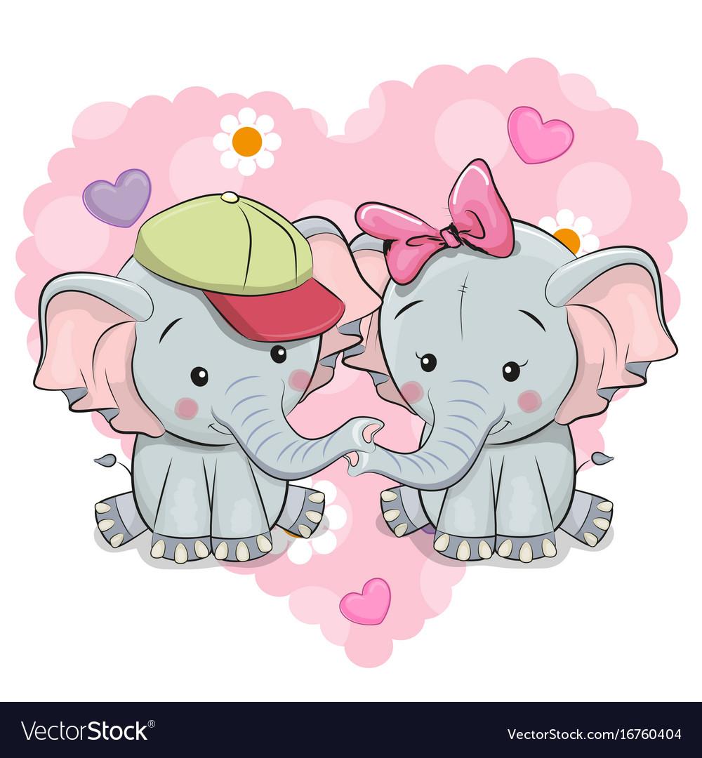 Two Cute Cartoon Elephants Royalty Free Vector Image