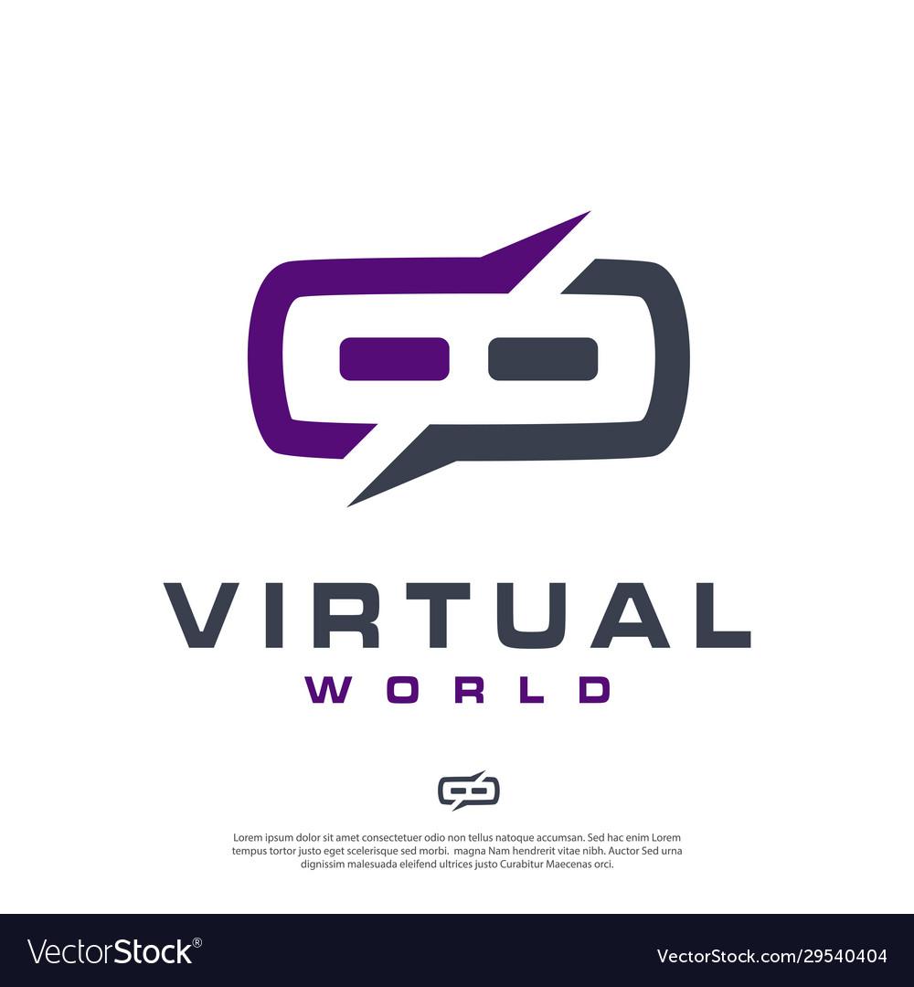 Virtual reality logo modern minimalist