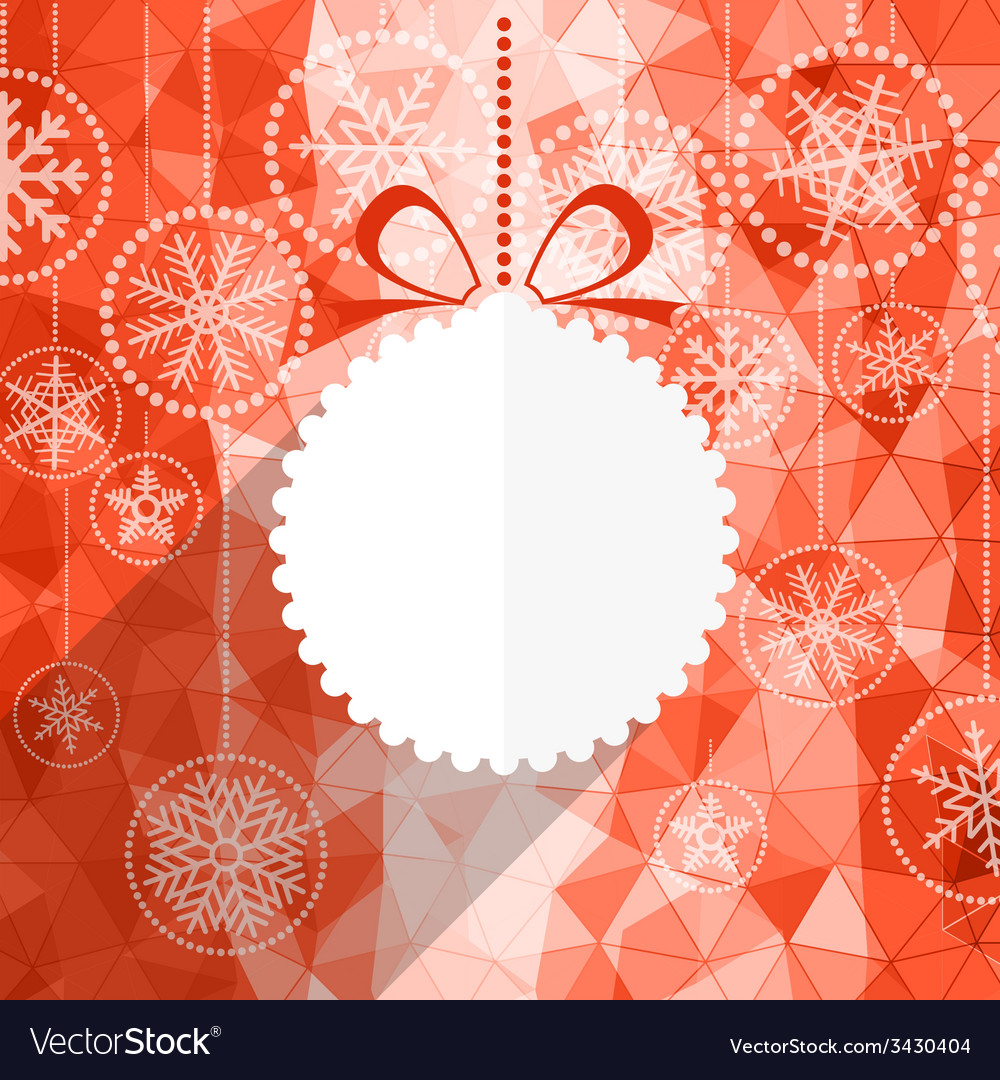 White christmas bauble and snowflake background