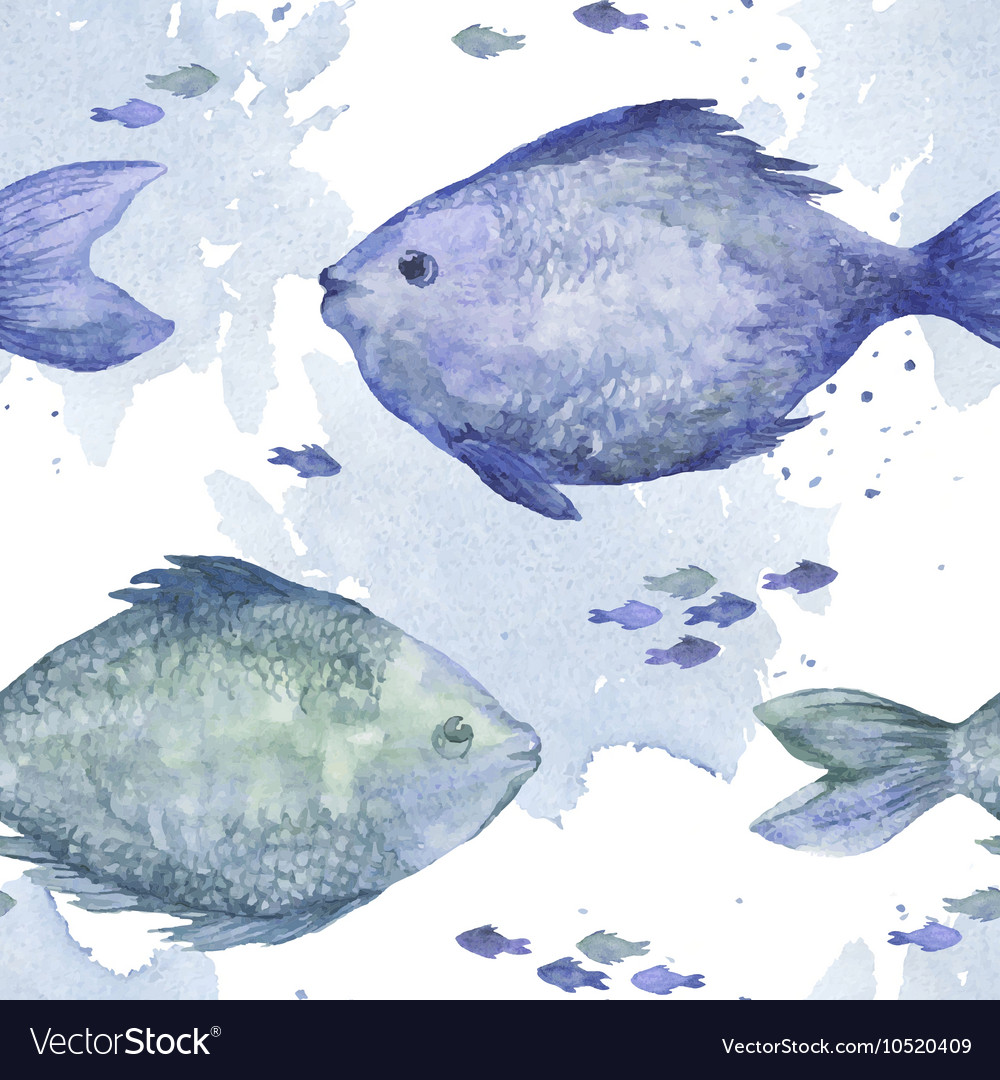 Blue watercolor fish seamless pattern