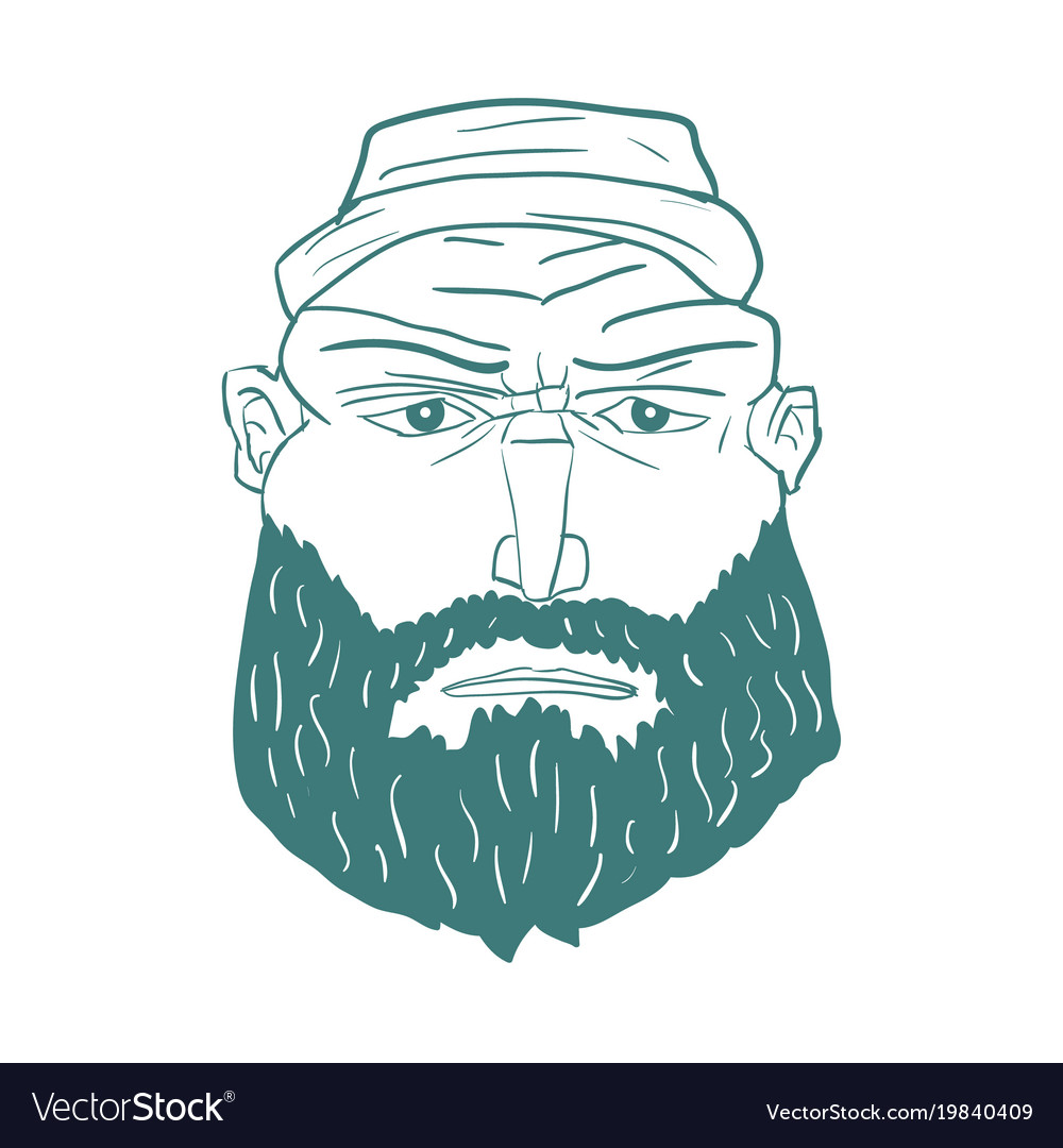 Cartoon brutal man face with beard