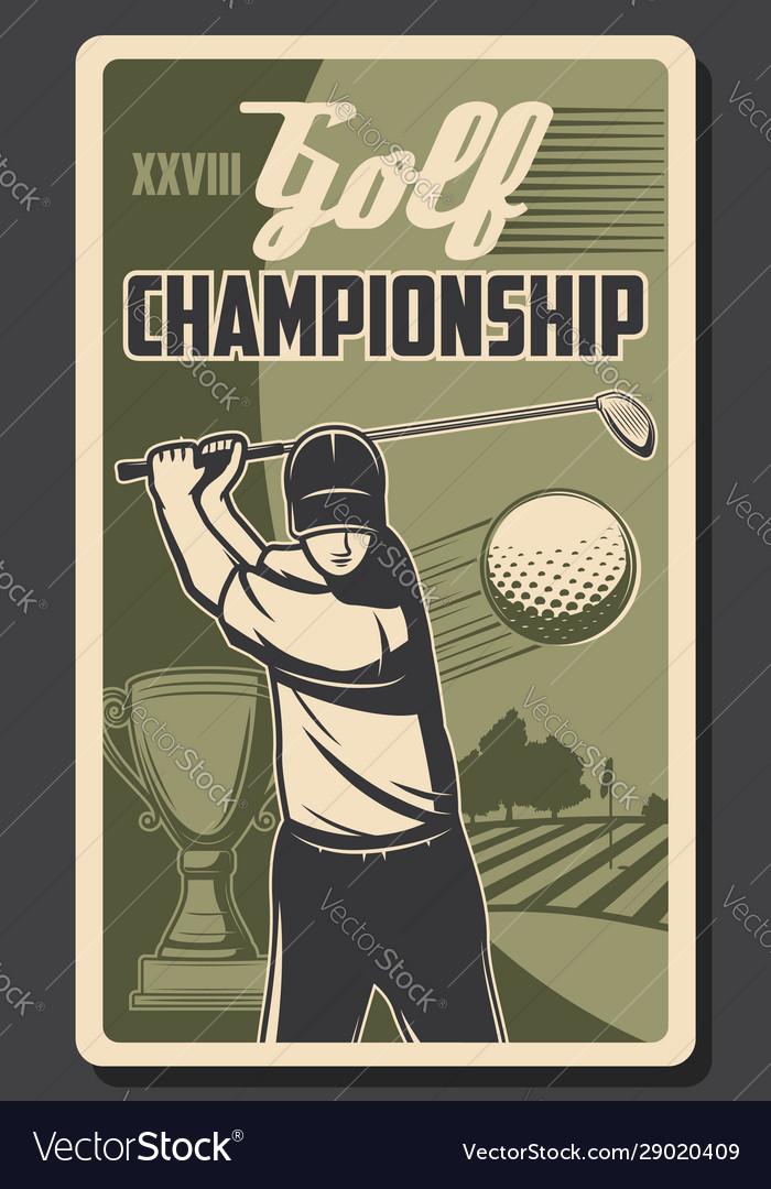 Championship golf sport player hits ball stick