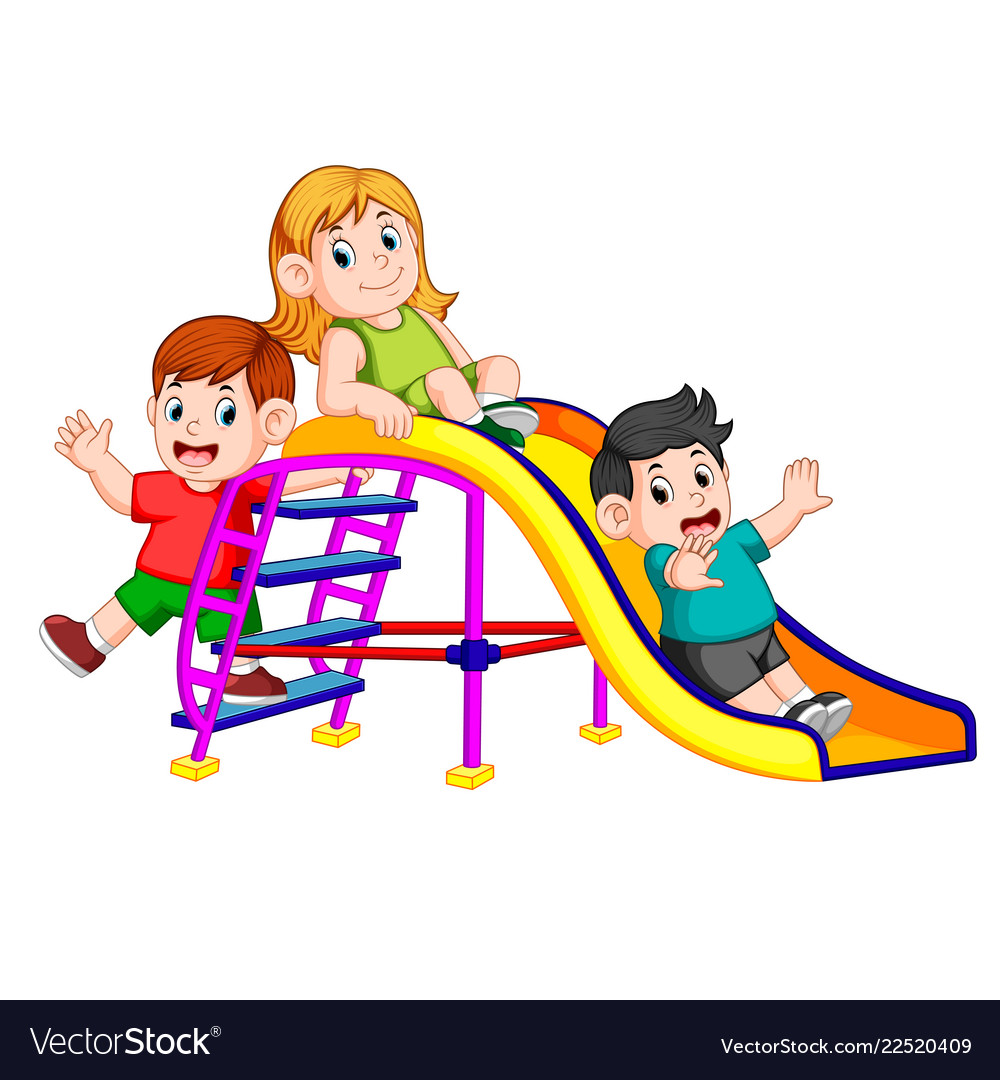 Childrens Have Fun Play Slide Royalty Free Vector Image