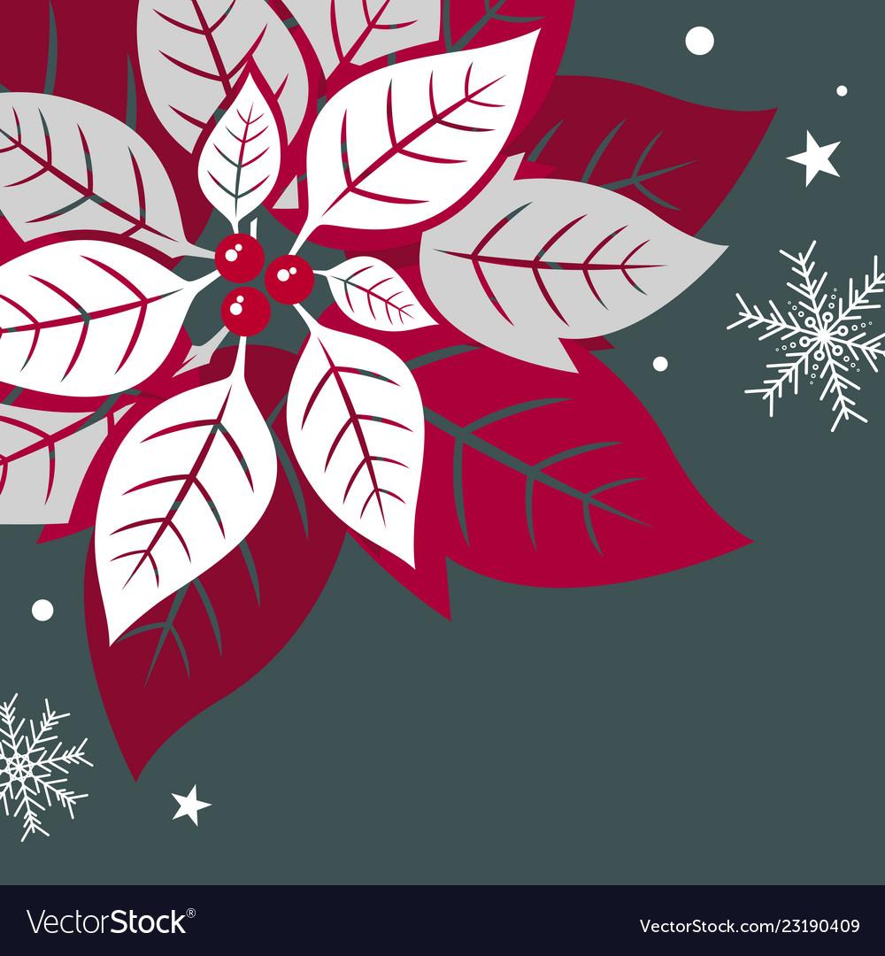 Christmas card design of xmas leaves