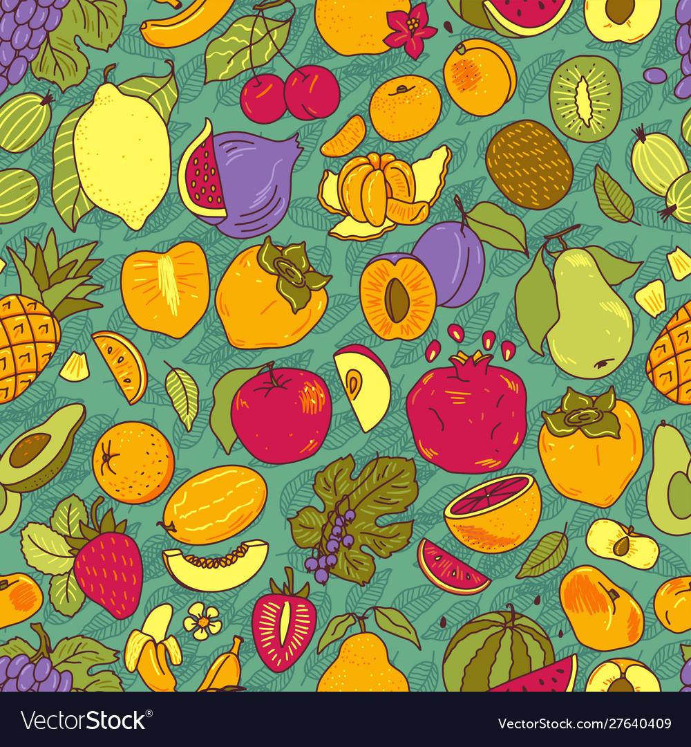 Fruits hand drawn set