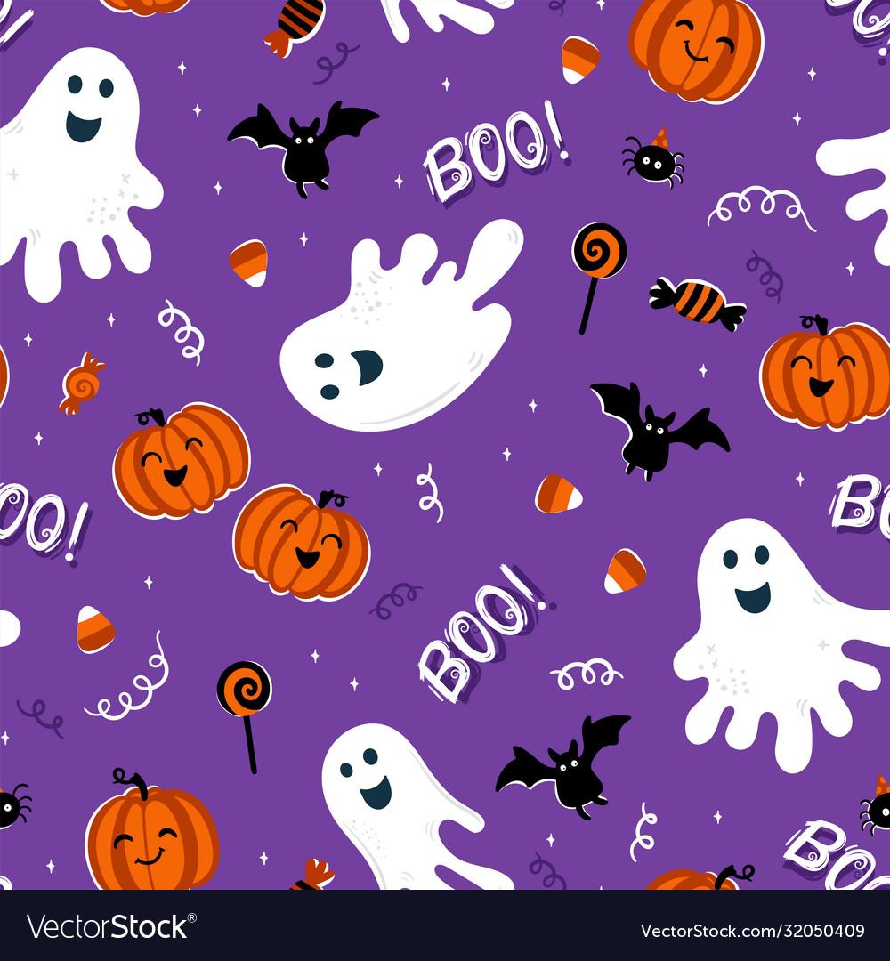 Fun hand drawn halloween seamless pattern cute