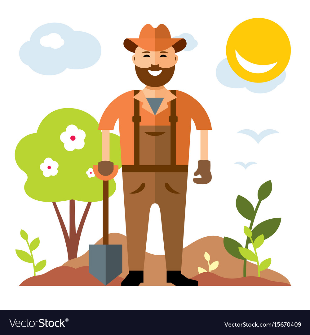 Gardening man with shovel flat style