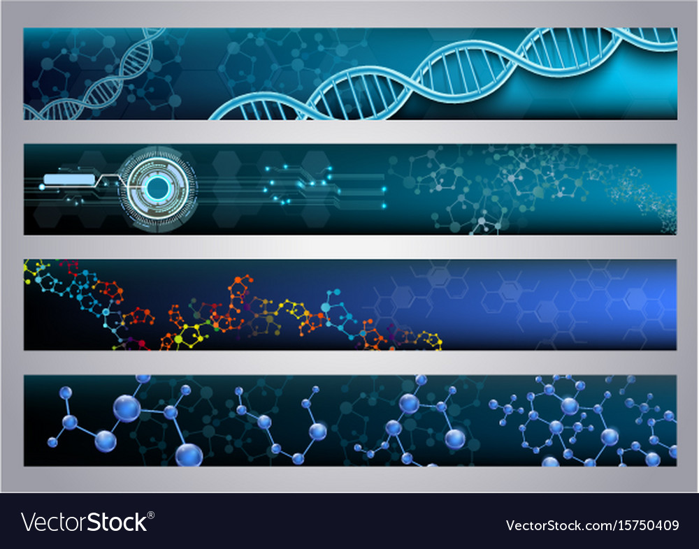 Molecular structure and dna banners background