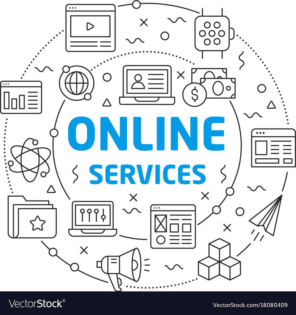 online services linear slide for the royalty free vector