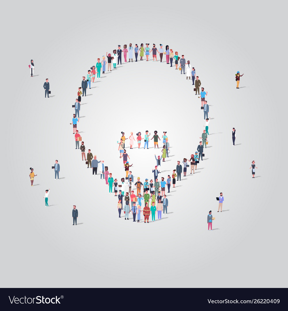 People crowd gathering in light lamp icon shape