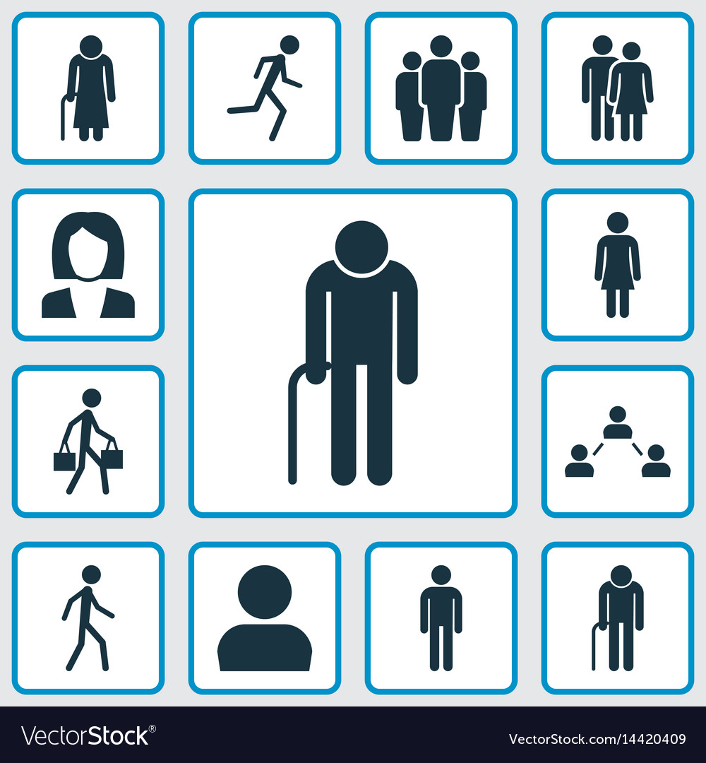 People icons set collection of female running vector image