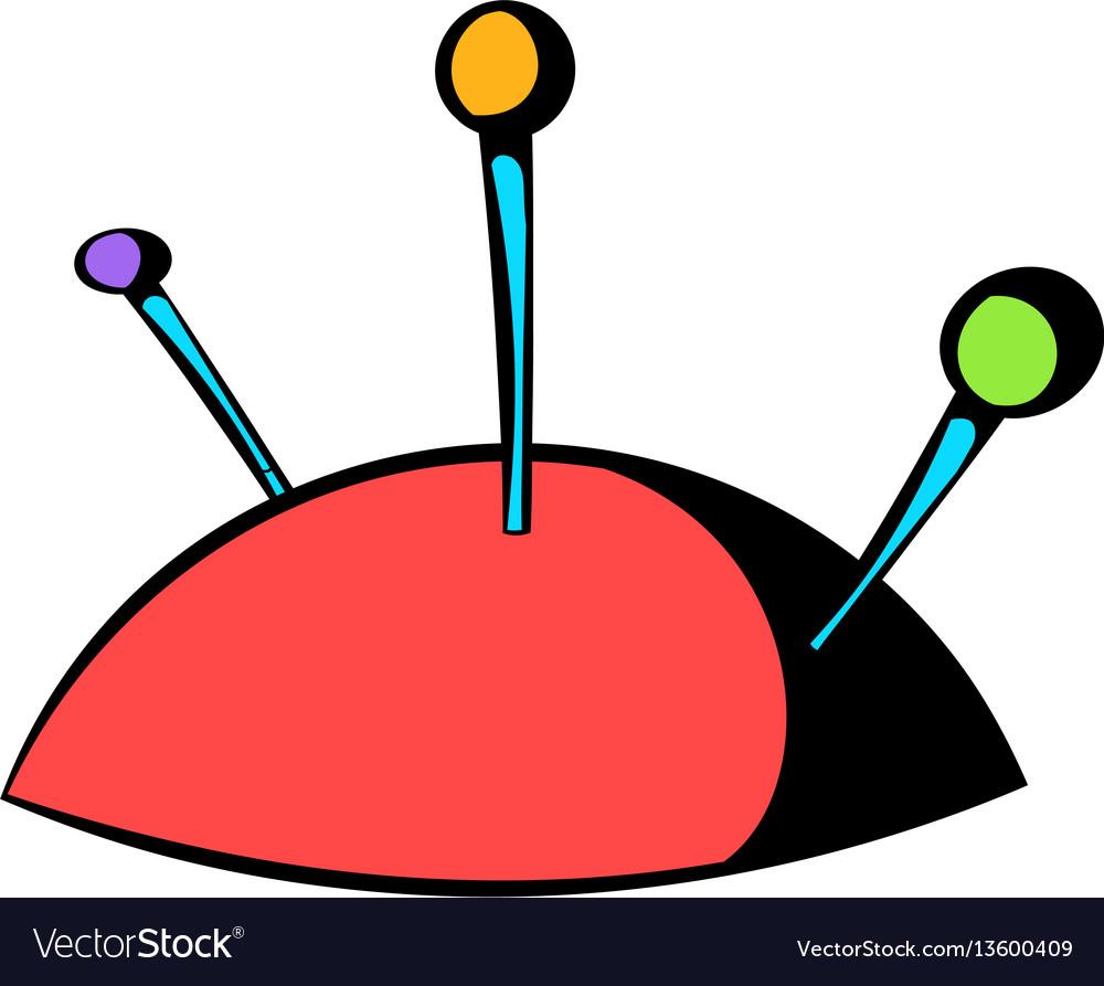 Pincushion with pins icon icon cartoon