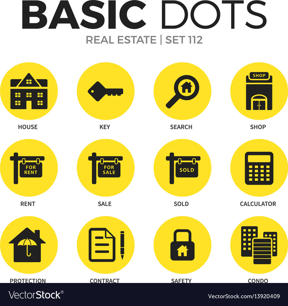 Real estate flat icons set