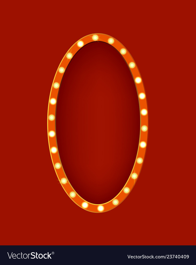 Realistic detailed 3d glowing sign oval