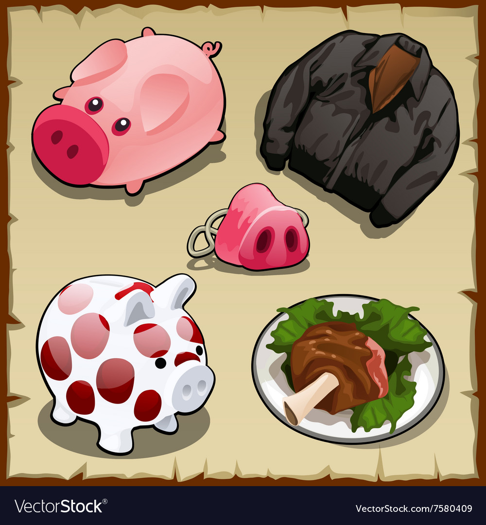 Set symbolism of pigs in different types 5 items