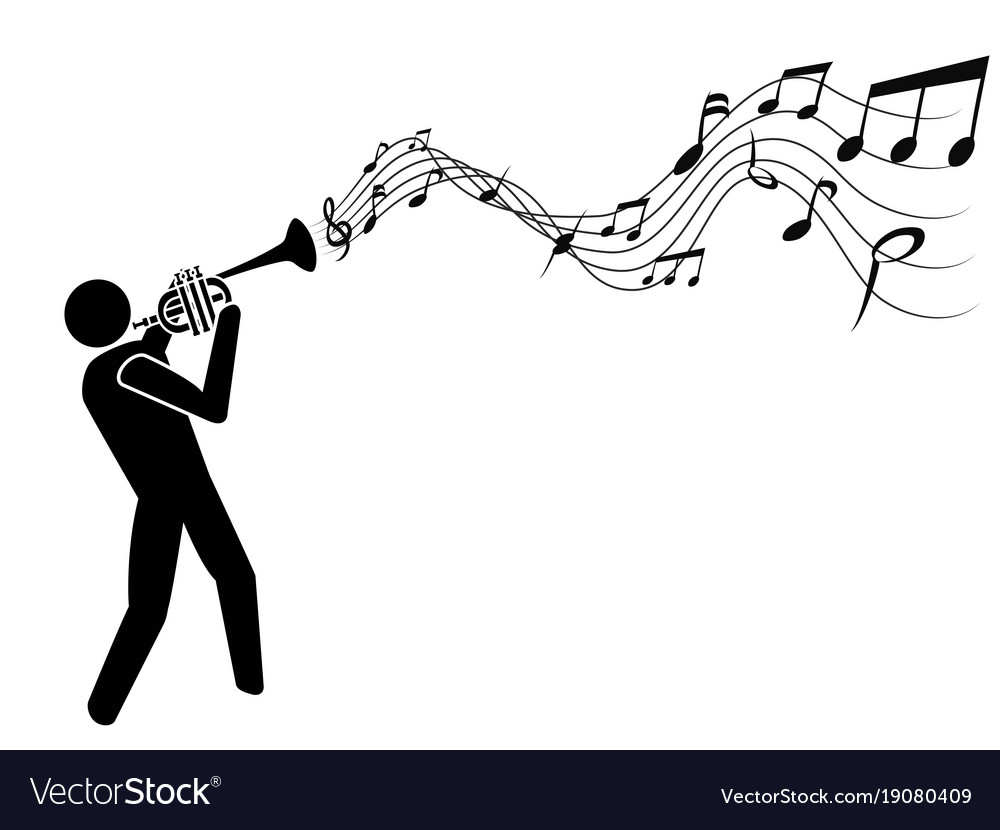 Trumpet blowing music notes