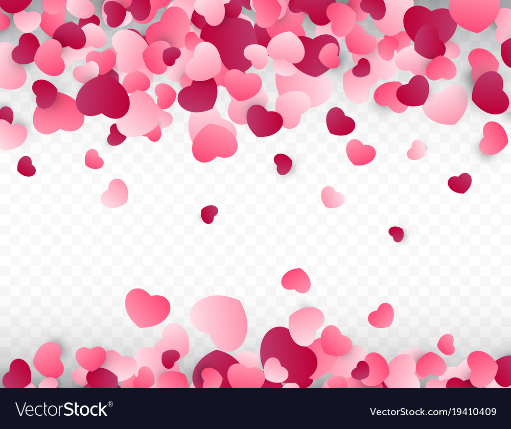 Valentines Day Background With Pink Hearts Love Vector Image