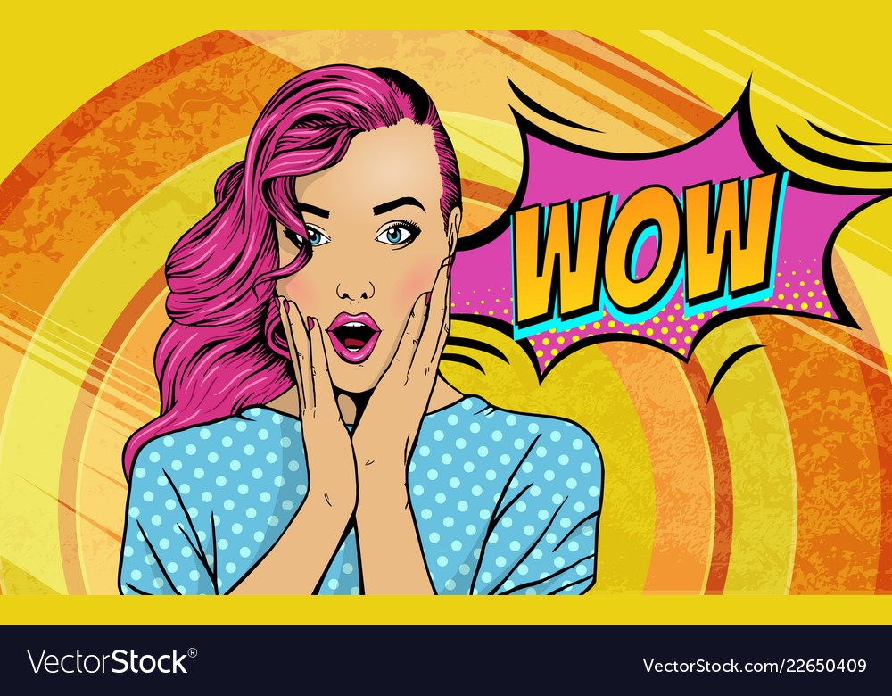 Wow pop art face sexy surprised woman with pink