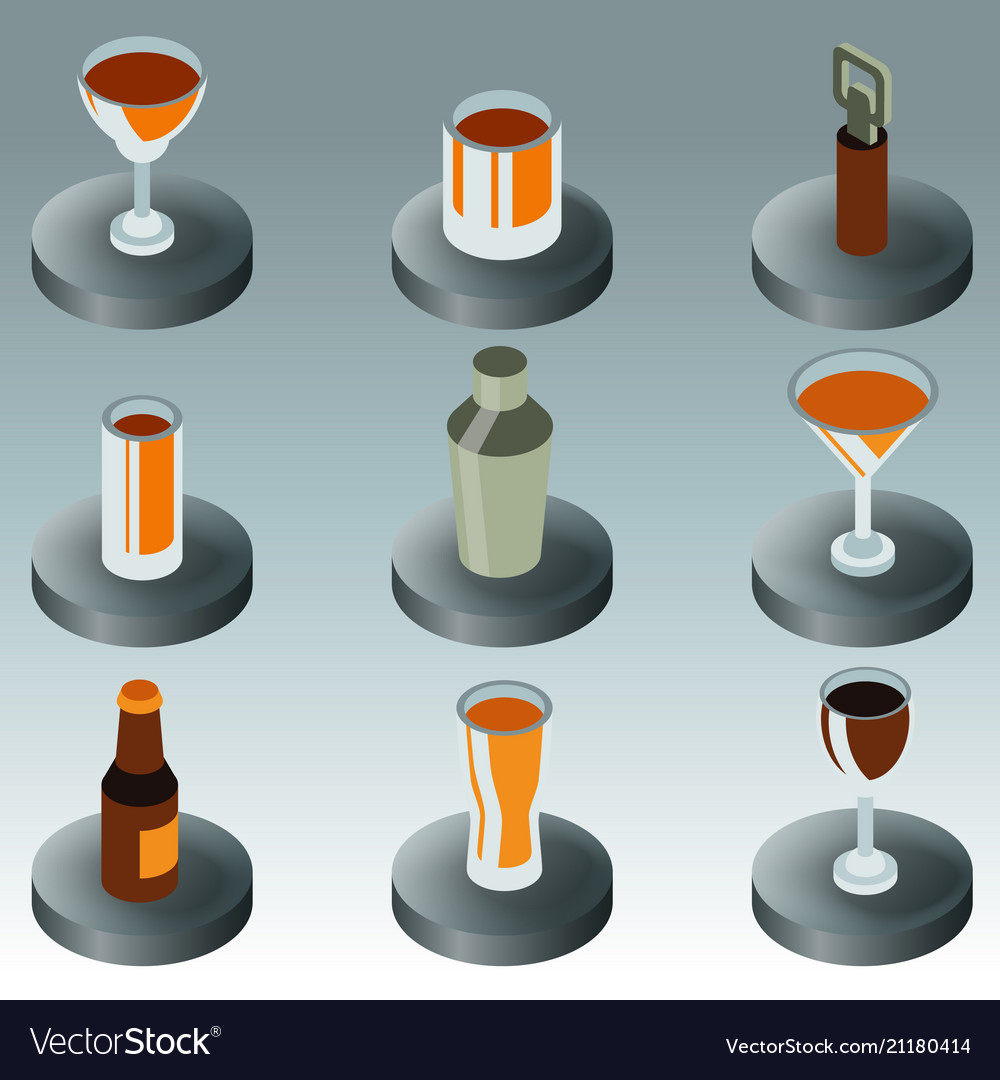 Alcohol color isometric icons