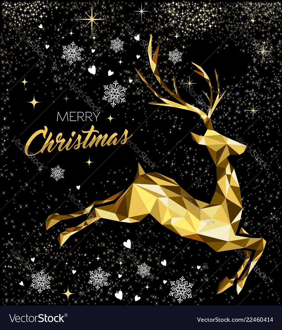 Christmas greeting card with gold glitter reindeer
