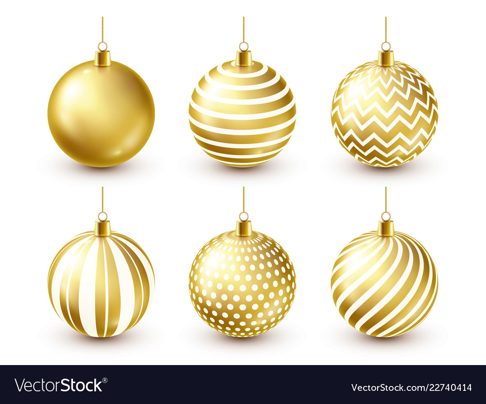 Christmas tree shiny golden balls set new year