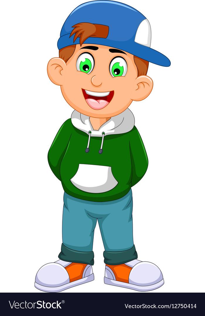 Cute little boy cartoon standing