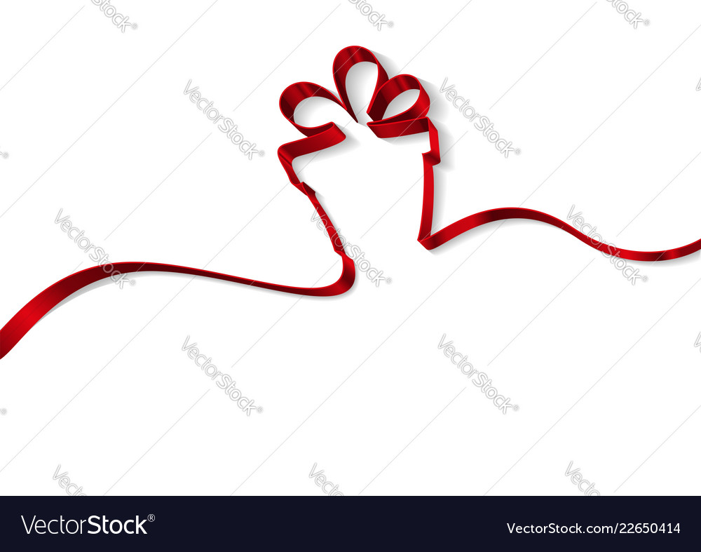 Gift box from ribbons isolated on white background