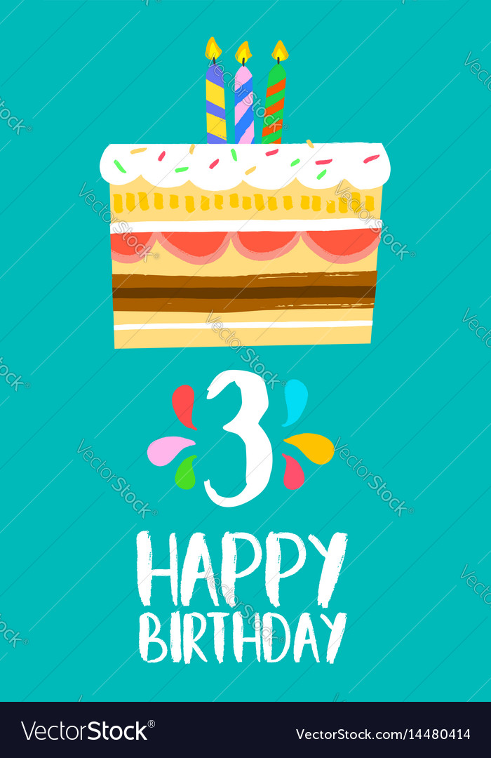Astounding Happy Birthday Cake Card For 3 Three Year Party Vector Image Personalised Birthday Cards Paralily Jamesorg