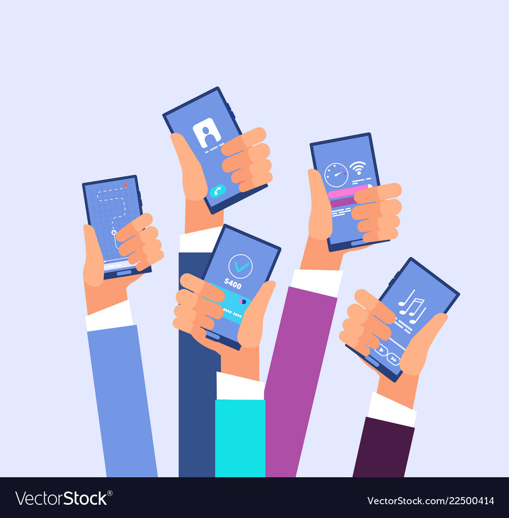 Mobile phone apps hands holding smartphones with