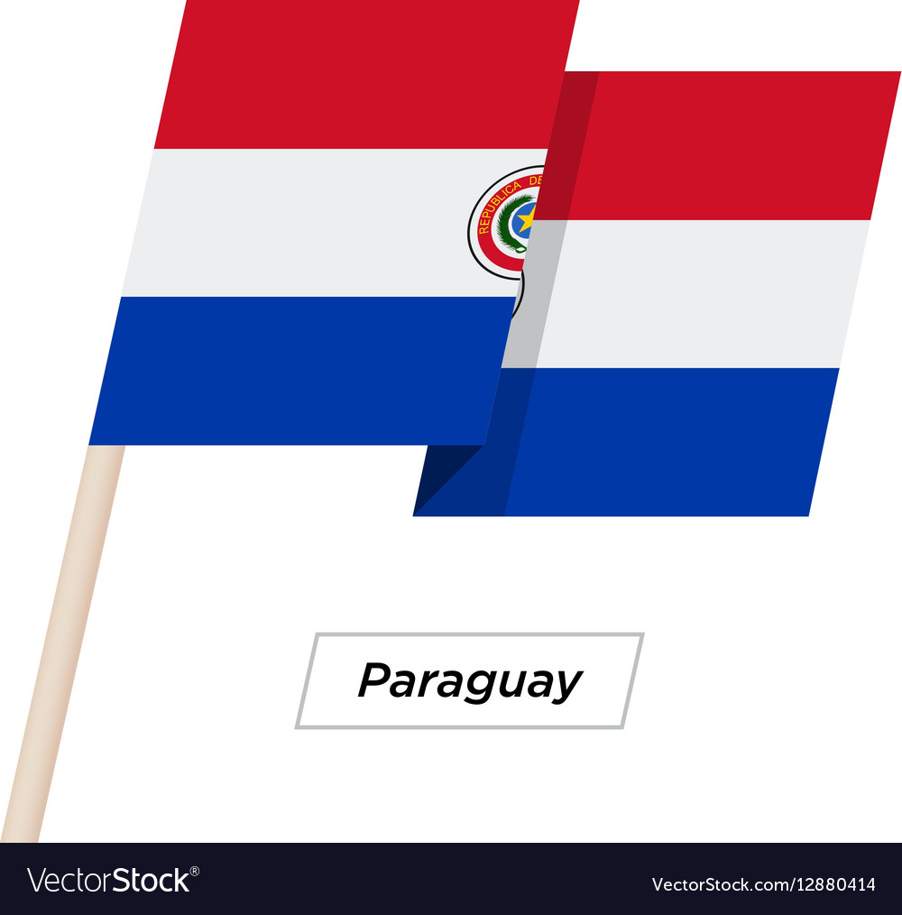 Paraguay Ribbon Waving Flag Isolated on White vector image