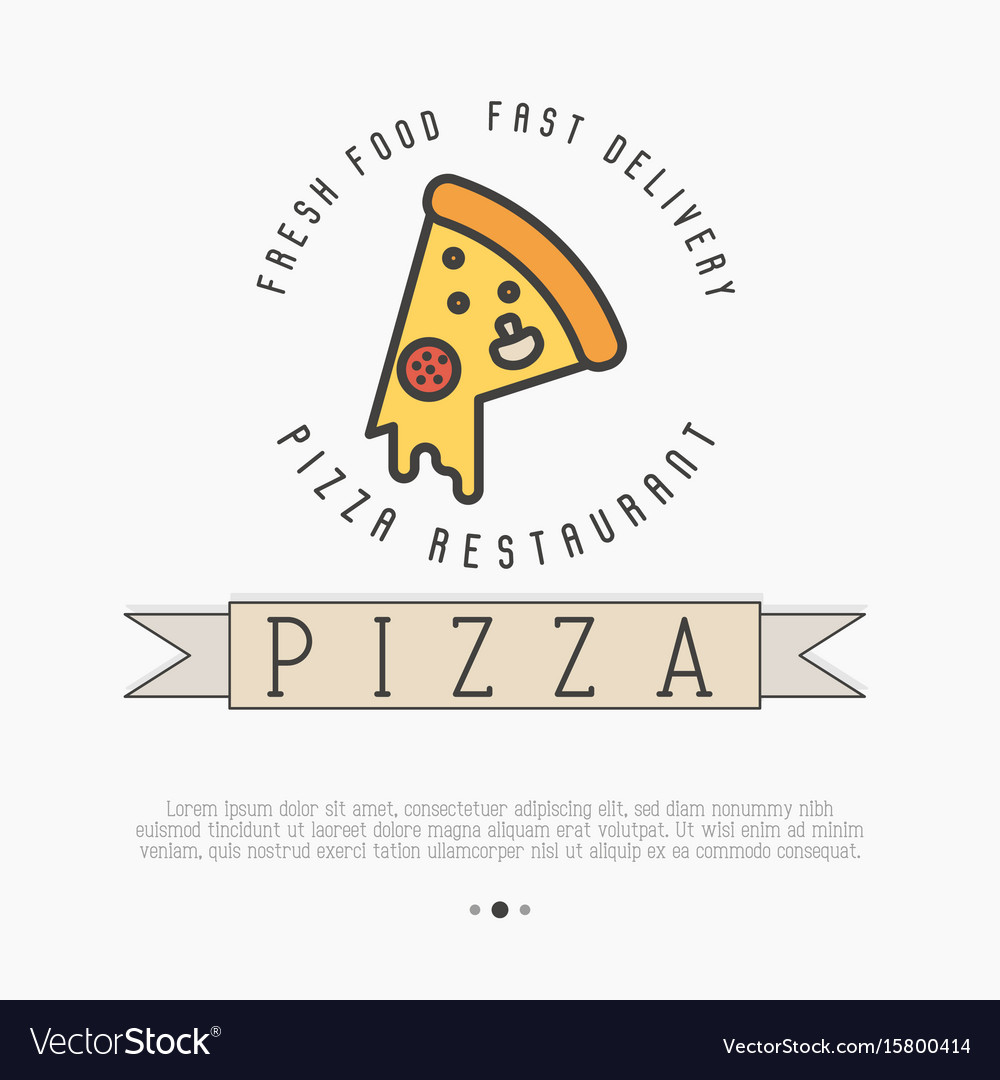 Pizza logo with thin line icon for menu